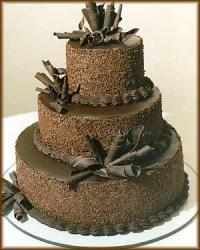 All cochocolate wedding cake with three tiers.jpg