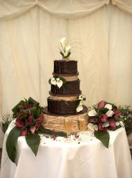 Chocolate 2015 nature them wedding cake with lilies flowers.jpg