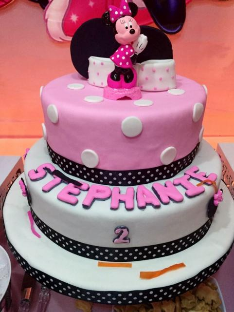 Superb Two Tier Personalized Minnie Mouse Cake For 2 Year Old Girl Jpg Hi Personalised Birthday Cards Arneslily Jamesorg