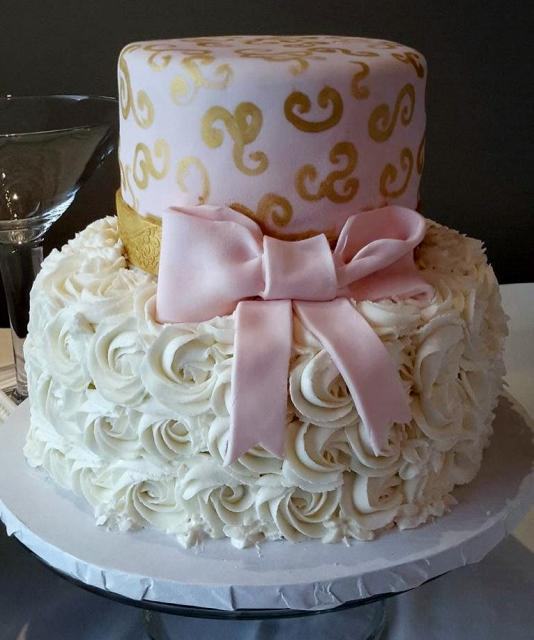 2 Tier Baby Shower Cakes Part - 33: 2 Tier Baby Shower Cake With Pink Bow U0026 Ruffled Rosed-like Bottom.