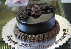 Chocolate 25th Anniversary Cake with Cream Swirls.JPG