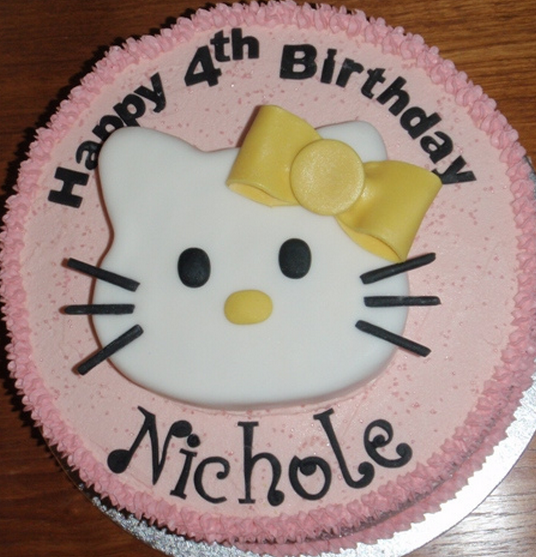Round light pink hello kitty birthday cake for girls with ...