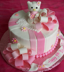 2015 Hello Kitty  pink and white birthday cake with cute Hello kitty figure cake topper.PNG