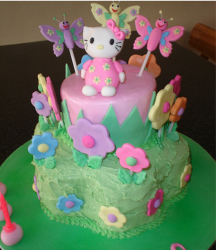 Girls hello birthday cake with flowers and butterflies and hello kitty topper in pink.PNG