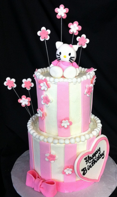 Large two tiers hello kitty cake with flowers and hello kitty cake topper in white and pink.PNG