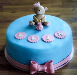 Cute First Birthday Cake for Girl with Teddy Bear on Top & Pink Bow & Mini Cake.JPG