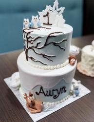 Cool First Birthday Cake with Winter Theme in 2 Tiers.JPG