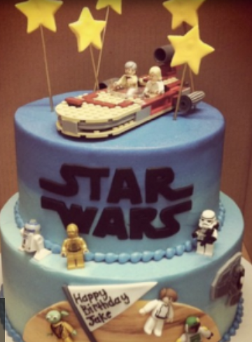 Star Wars birthday cakes with many Star wars characters cake toppers.PNG