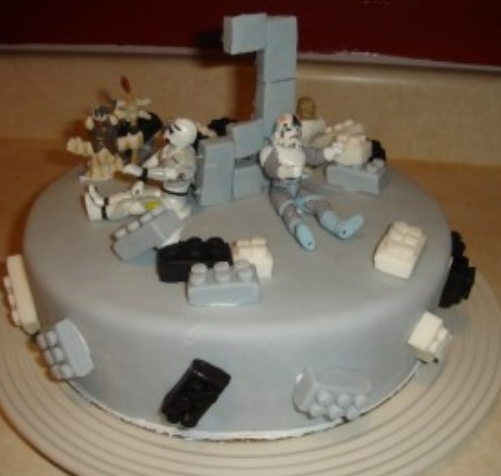 Image of Star wars lego children birthday cakes ideas w/ cake toppers
