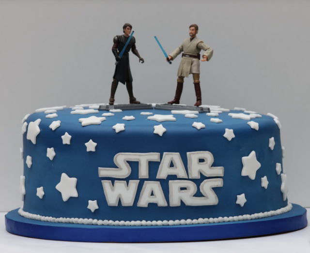 Blue Star Wars cake with stars and two star wars characters cake toppers.PNG