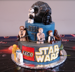 Lego star wars birthday cakes with cake toppers.PNG