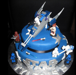 Lego Star Wars birthday cakes with lego star wars figures cake toppers.PNG