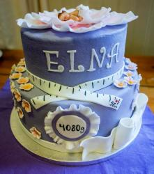 Cute Lavender 2 Tier Baby Shower Cake with realistic Baby topper & Tape Measure.JPG