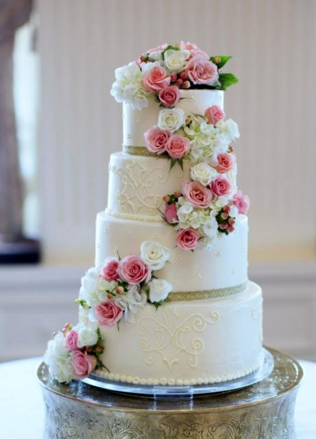 4 tier wedding cake with red roses 4 tier white wedding cake with cascading pink 10424