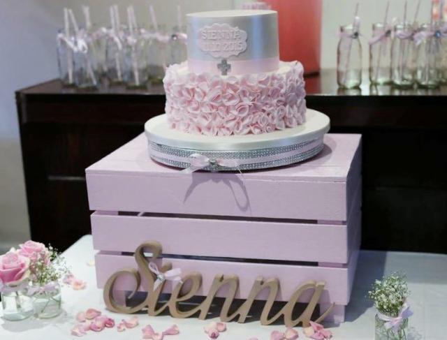 Elegant Christening Pink Cake For Baby Girl Jpg