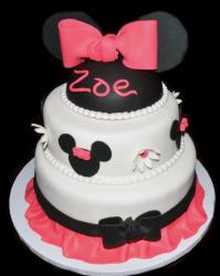 Minnie Mouse Disney Theme Cake in Two Tiers with Pink & Black Bows.JPG