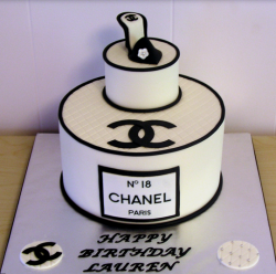 Chanel birthday cake with Chanel shoe cake topper and Chanel perfume cake.PNG