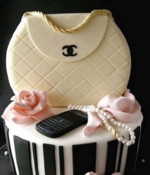 Chanel purse cake and cell phone cake and pearl cake with light pink cake rose.PNG
