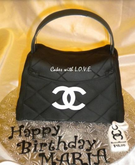Designer purse cake photos of black Chanel purse birthday cake with white  logo.PNG 5620cbbea911f