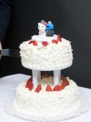 Cookie Monster & Hello Kitty Wedding Toppers on 2 Tier Cake.JPG