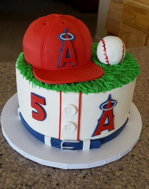 Pleasant La Angels Baseball Theme Birthday Cake With Cap Ball Uniform Birthday Cards Printable Nowaargucafe Filternl