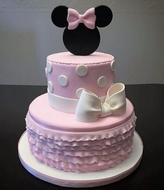Minnie Mouse 2 Tier Pink Birthday Cake With White Bow Rufflesg