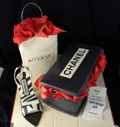 Chanel shoes cake with cake Chanel shoe box with Macys shopping bag cake.PNG