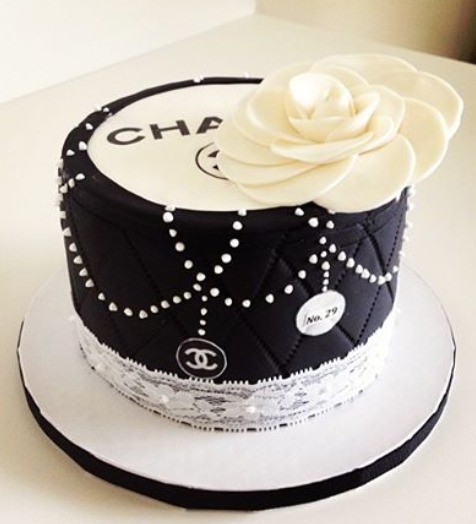 Stylish birthday cakes picture of white and black Chanel ...