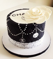 Stylish birthday cakes picture of white and black Chanel cake with beautiful white flower cake topper.PNG