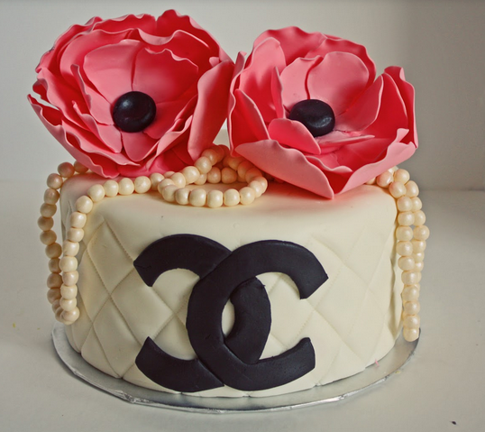 Beautiful fashion designing cakes pictures of white Chanel cake with black Chanel logo with beautiful pink flowers cake toppers