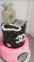 Chanel birthday cake with Chanel purse cake, Chanel perfume cake and Chanel pearls cake