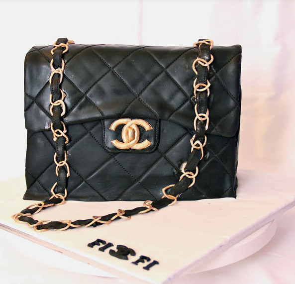 Chanel leather bag cake with gold chain