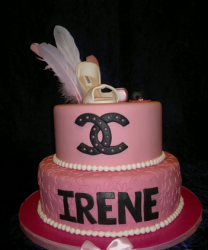 Chanel pink birthday cake with black chanel logo and high heel cake topper
