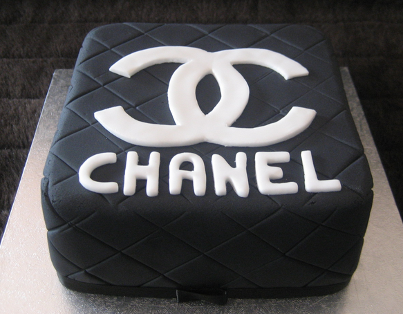 Black Chanel cake with Chanel white logo.PNG