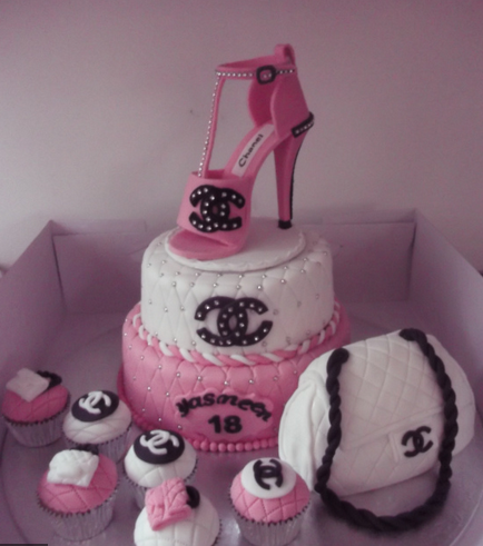Chanel cakes picture of pink and white Chanel cakes with pink Chanel shoe cake topper.PNG