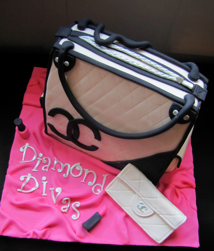 Birthday Chanel purse cake with black patterns and Chanel lipstick cake.PNG