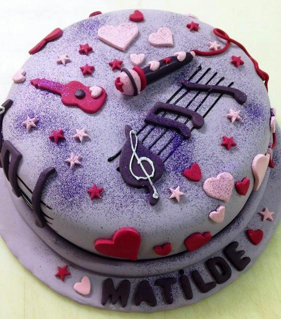 Lavender Music Theme Birthday Cake For Girls With Microphone Stars Hearts Score