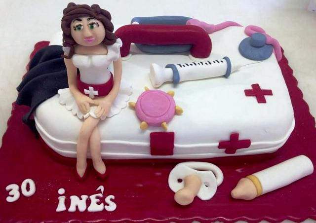 Nurse Theme 30th Birthday Cake With Medical Instruments Woman Depicted