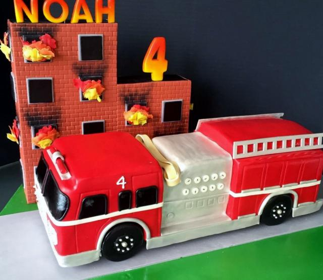 Fire Truck And Building On Fire 4th Birthday Cake For Boys