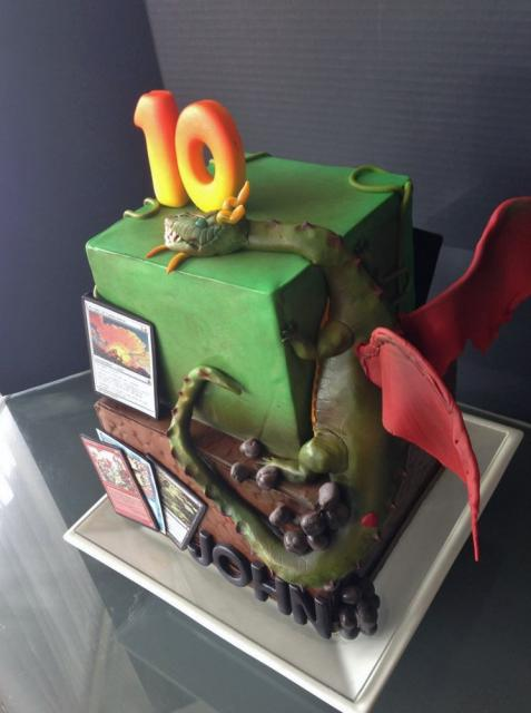 Cool Magic The Gathering 2 Tier Cubic 10th Birthday Cake With