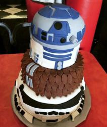 R2D2 Star Wars theme 3 Tier Cake.JPG