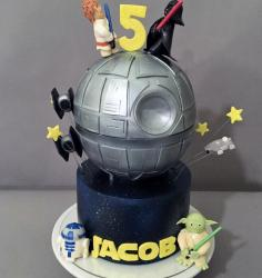 Star Wars Theme 5th Birthday Cake with Death Star & Luke Skywalker battling Darth Vader with Yoda & R2D2.JPG