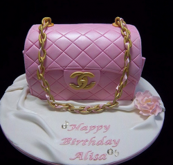 Pink Chanel birthday cake with gold chain strap.PNG