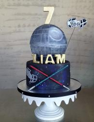 Death Star Star Wars Theme 7th Birthday Cake with Tie Fighter.JPG
