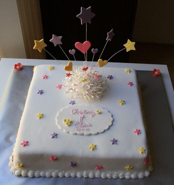 Square Christening cake with colorful dots and stars spring