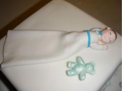 Baby topper cake with a teddy bear on a bland white in square shape