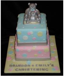 Square Christening cakes with blue and pink with silver teddy bears