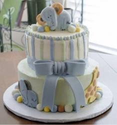 Cute Elephant Theme 2 Tier Baby Shower Cake with Bow..JPG