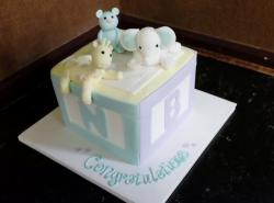 Baby Shower Cake in Shape of Cube with Cute Animals on Top..JPG