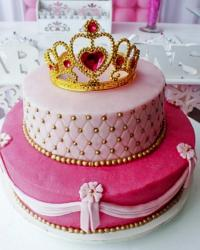 Princess Theme 2 Tier Pink Cake with Fancy Gold and Ruby Tiara on Top..JPG
